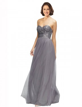 Shop Grey A-Line Long Laurel Bridesmaid Dress Canada