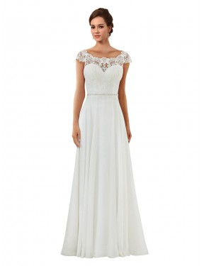 Shop Ivory A-Line Long Angela Wedding Dress Canada
