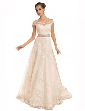 Shop Ivory A-Line Long Brynn Wedding Dress Canada