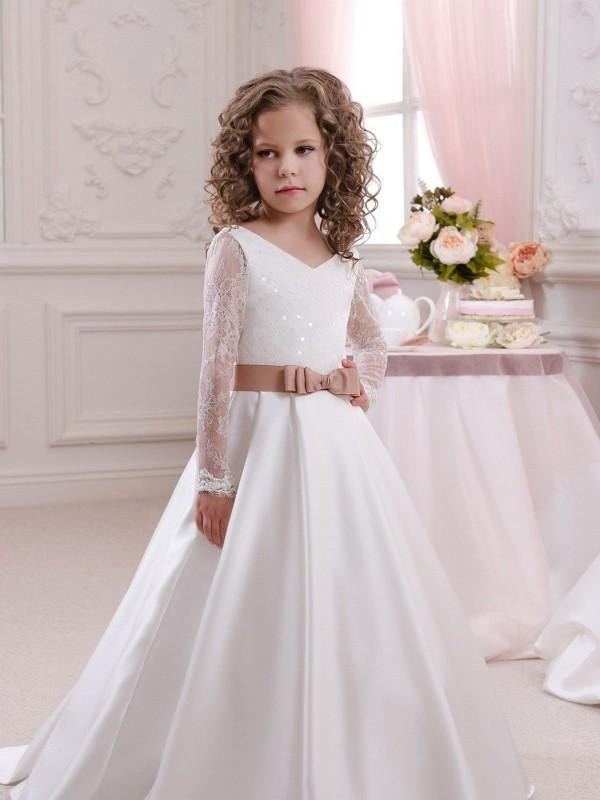 Shop Ivory Ball Gown Long Flower Girl Dress Canada