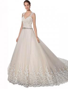Shop Ivory & Champagne A-Line Long Ember Wedding Dress Canada
