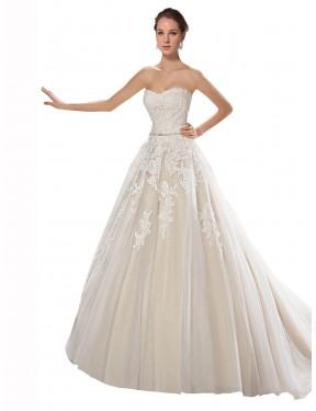 Shop Ivory & Champagne A-Line Long Lilliana Wedding Dress Canada