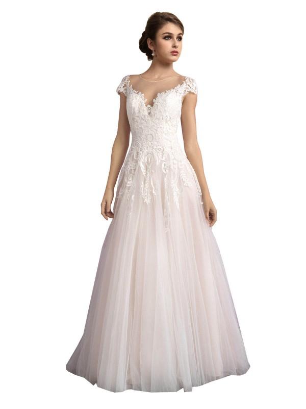 Shop Ivory & Champagne A-Line Long Mariana Wedding Dress Canada