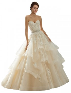 Shop Ivory & Champagne Ball Gown Long Adaline Wedding Dress Canada