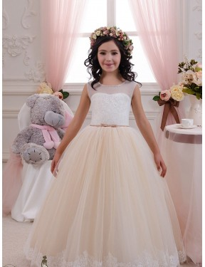 Shop Ivory & Champagne Ball Gown Long Flower Girl Dress Canada