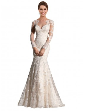 Shop Ivory & Champagne Mermaid Long Aliyah Wedding Dress Canada