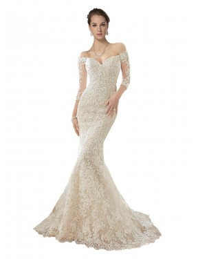 Shop Ivory & Champagne Mermaid Long Blake Wedding Dress Canada