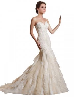 Shop Ivory & Champagne Mermaid Long Iris Wedding Dress Canada