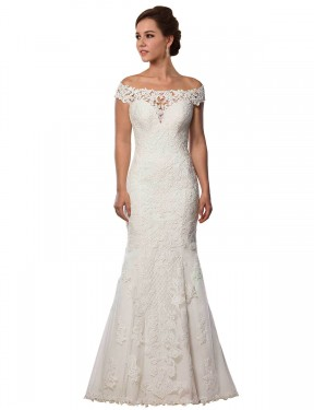 Shop Ivory Mermaid Long Michelle Wedding Dress Canada