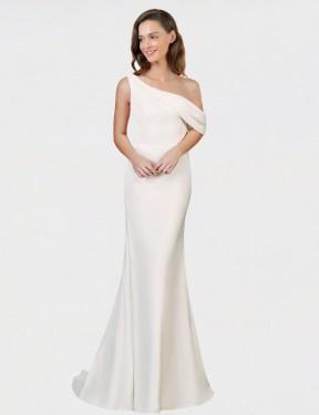 Shop Ivory Sheath Long Cantrell Bridesmaid Dress Canada