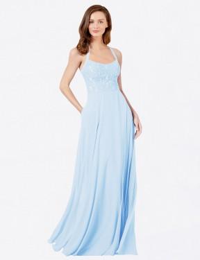 Shop Light Sky Blue A-Line Long Helma Bridesmaid Dress Canada