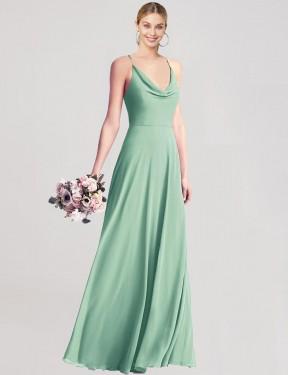 Shop Mint Green A-Line Long Tanina Bridesmaid Dress Canada