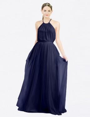 Shop Navy Blue A-Line Long Lillian Bridesmaid Dress Canada