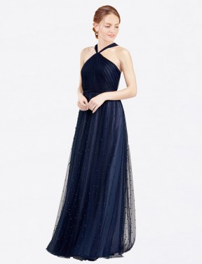 Shop Navy Blue A-Line Long Nora Bridesmaid Dress Canada