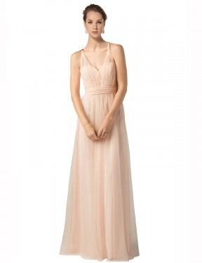Shop Nude A-Line Long Jaliyah Bridesmaid Dress Canada