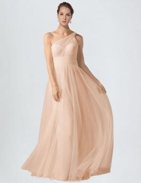 Shop Nude A-Line Long Saige Bridesmaid Dress Canada
