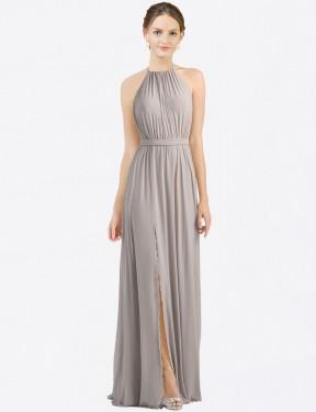 Shop Oyster Silver A-Line Long Maliah Bridesmaid Dress Canada