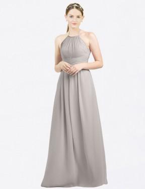 Shop Oyster Silver A-Line Long Mia Bridesmaid Dress Canada