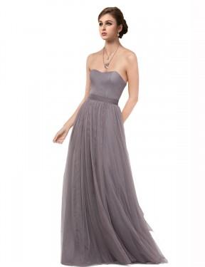Shop Pewter A-Line Long Emmy Bridesmaid Dress Canada