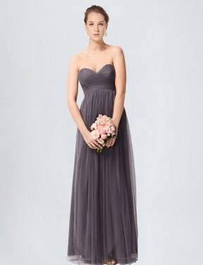 Shop Pewter A-Line Long Kimber Bridesmaid Dress Canada