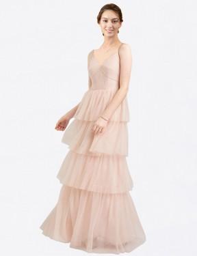 Shop Pink A-Line Long Hazel Bridesmaid Dress Canada