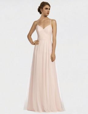 Shop Pink A-Line Long Jayde Bridesmaid Dress Canada