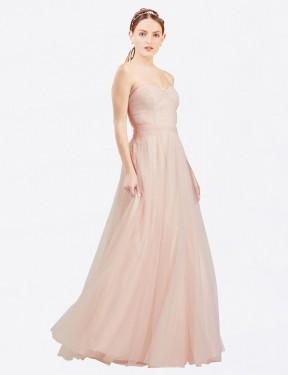 Shop Pink A-Line Long Layla Bridesmaid Dress Canada