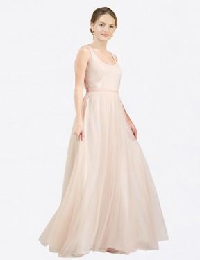 Shop Pink A-Line Long Lily Bridesmaid Dress Canada