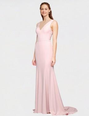 Shop Pink A-Line Long Polly Bridesmaid Dress Canada