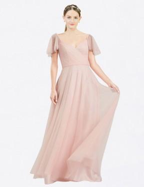 Shop Pink A-Line Long Riley Bridesmaid Dress Canada