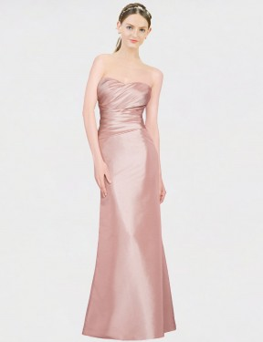Shop Pink A-Line Long Whitney Bridesmaid Dress Canada