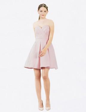 Shop Pink A-Line Short Zoe Bridesmaid Dress Canada