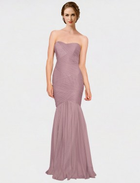 Shop Pink Mermaid Long Erica Bridesmaid Dress Canada