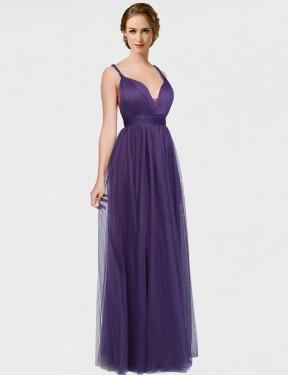 Shop Purple A-Line Long Joslyn Bridesmaid Dress Canada