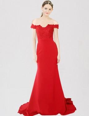 Shop Red Mermaid Long Dawn Bridesmaid Dress Canada