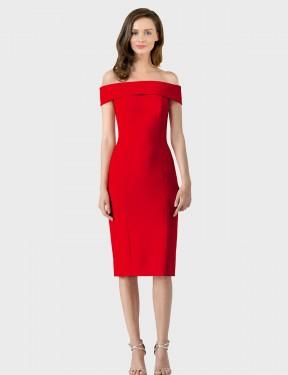 Shop Red Sheath Short Carol Bridesmaid Dress Canada
