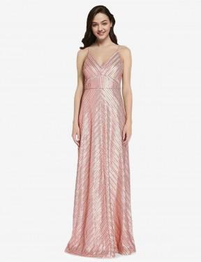 Shop Rose Gold Sheath Long Adrielle Bridesmaid Dress Canada