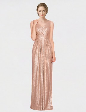 Shop Rose Gold Sheath Long Ayleen Bridesmaid Dress Canada