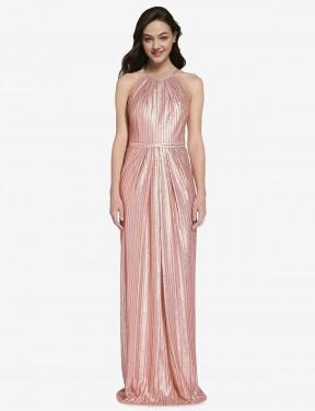 Shop Rose Gold Sheath Long Penelope Bridesmaid Dress Canada