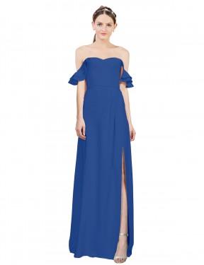 Shop Royal Blue A-Line Long Leanne Bridesmaid Dress Canada