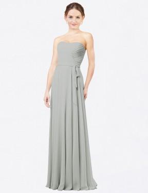 Shop Silver A-Line Long Adelina Bridesmaid Dress Canada