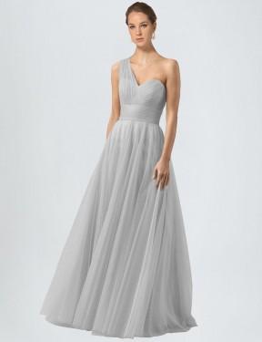 Shop Silver A-Line Long Anahi Bridesmaid Dress Canada
