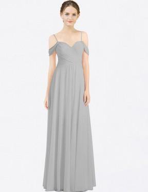 Shop Silver A-Line Long Breanna Bridesmaid Dress Canada