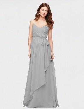 Shop Silver A-Line Long Chaloux Bridesmaid Dress Canada