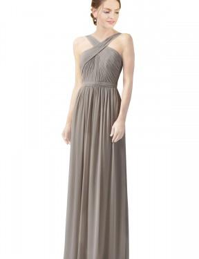 Shop Silver A-Line Long Christine Bridesmaid Dress Canada