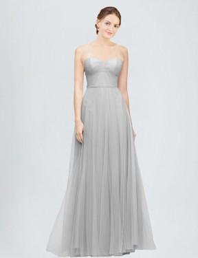 Shop Silver A-Line Long Emory Bridesmaid Dress Canada
