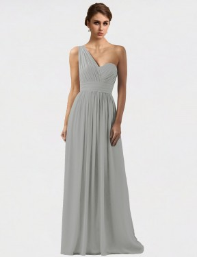 Shop Silver A-Line Long Harlee Bridesmaid Dress Canada