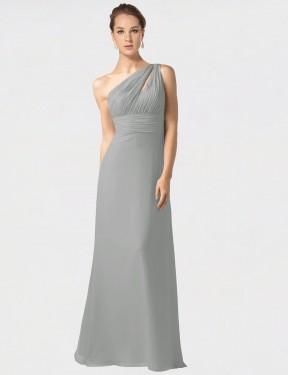 Shop Silver A-Line Long Jamie Bridesmaid Dress Canada