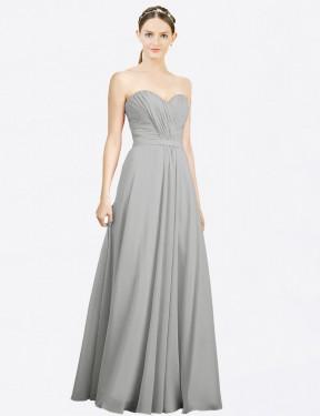 Shop Silver A-Line Long Jazlynn Bridesmaid Dress Canada