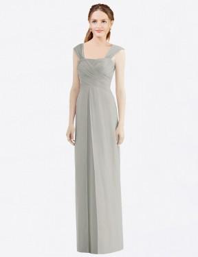 Shop Silver A-Line Long Josefina Bridesmaid Dress Canada